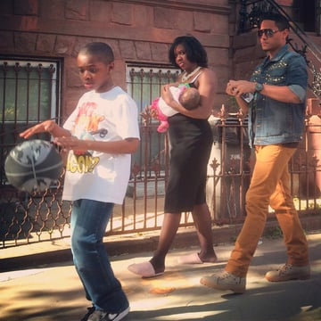 Family on the street in Bedford-Stuyvesant Brooklyn 2014