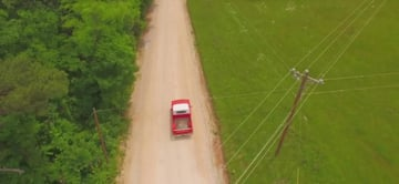 Pickup truck on a dirt road