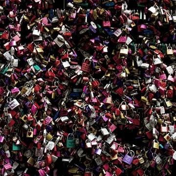 Symbols of love in Juliets courtyard Verona Italy