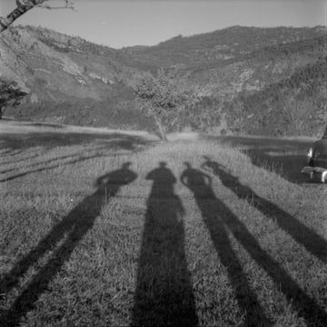 The shadows of Rosemary Gilliat Anna Brown Audrey James and Helen Salkeld possibly at Similkameen Valley British Columbia