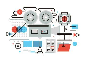 Business video production flat illustration
