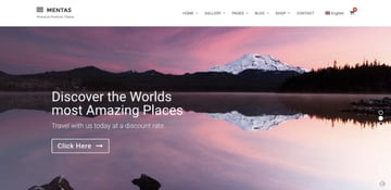 Mentas photography portfolio theme for WordPress