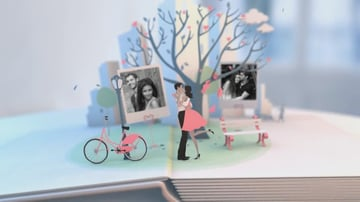 A man and woman embrace in pop-up book