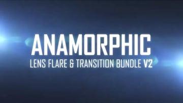 Anamorphic lens flares on blue background