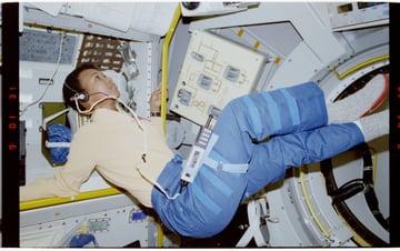 Photographic documentation of Mission Specialist MS Mae Jemison near Rack 1 in Spacelab-Japan SL-J