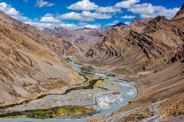 Himilayan mountain river in Ladakh India