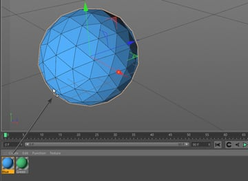 Dragging the blue material onto the sphere object