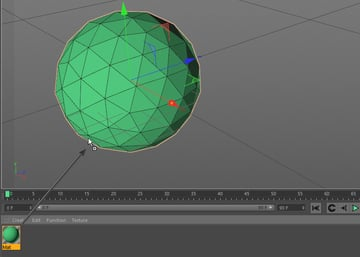 Dragging the green material onto a sphere object