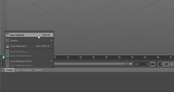 Image showing how to create new material in Cinema 4D