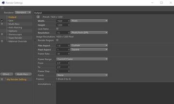 Render settings in Cinema 4D