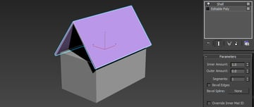 Image of the new roof using the shell modifier