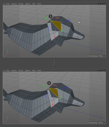 Editing the polygons of the ear