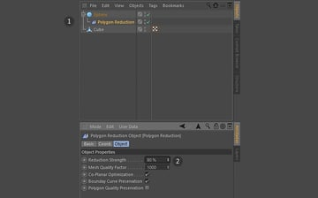 Adjusting the Polygon Reduction strength setting