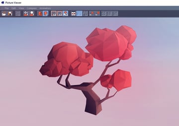 The final render of the low poly tree