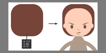 Creating the hair using the Rounded Rectangle Tool