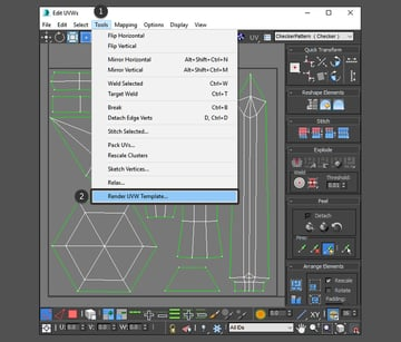 Select Render UVW Template