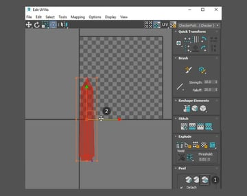 Move the blade in the UV Editor