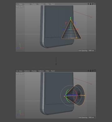Rotate the cone using the rotate tool