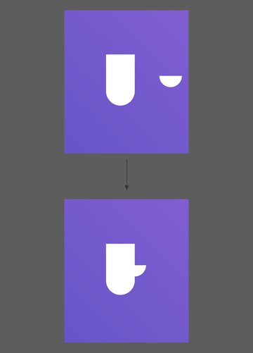 Move the semi circle inside the larger shape