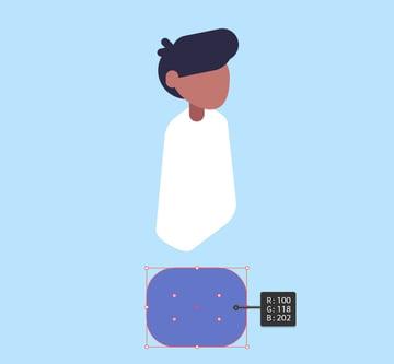 Create blue vector object for hip