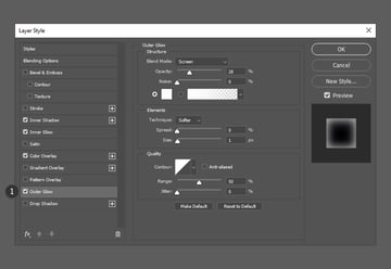 Adjust outer glow from blending options