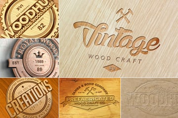wood logo mockups