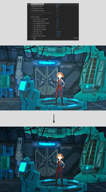 edit shadow highlight options