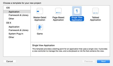 Choose the Single View Application Template