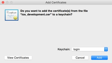 Adding the Certificate to the Login Keychain