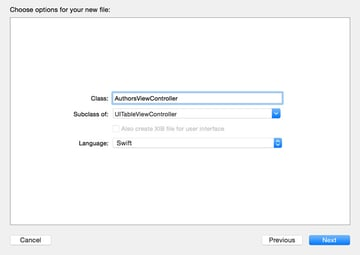 Configure the New Cocoa Touch Class