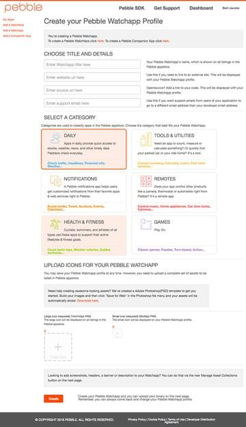 Create a Pebble Wachapp Profile