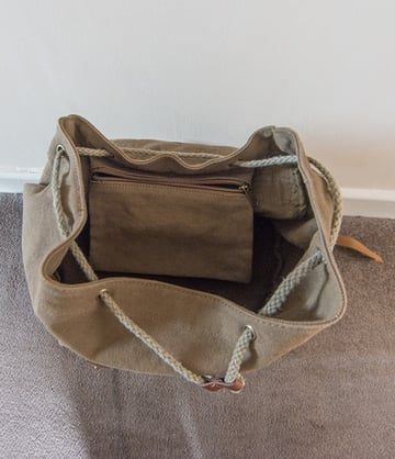 Top compartment of rucksack