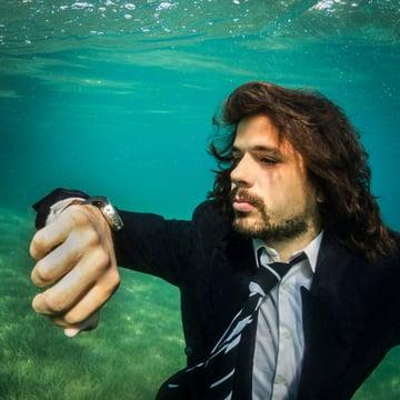 underwater businessman
