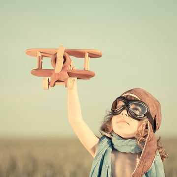 kid with plane