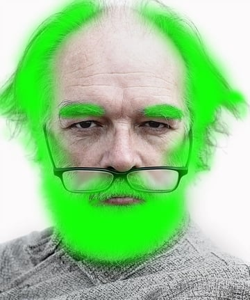 Green painted on colour layer over models hair beard and eyebrows