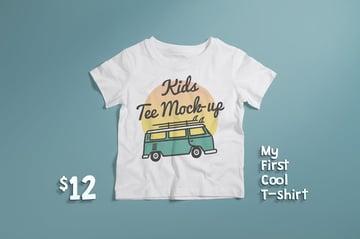 Crew Neck T-shirt Mock-up Kids Version