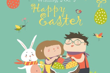 Happy children holding a basket of Easter Eggs  Greetings Card for Adobe Illustrator