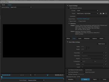 Export window in Premiere Pro