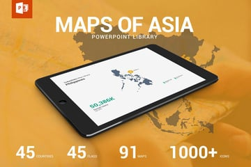 Map and Flag of Asia Library