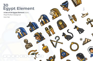 30 Egypt Element Icons