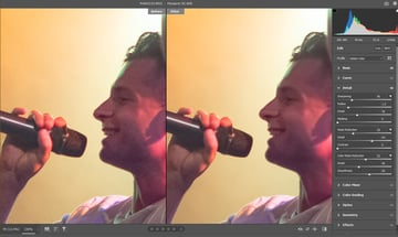 Before and after noise reduction (after artificially creating noise)