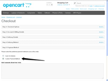 Front-end Checkout View