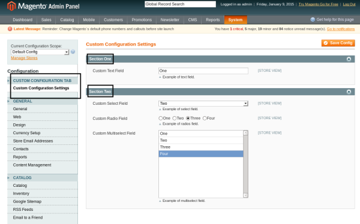 Custom Configuration in the Back-End