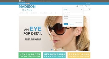 Front page of Magento store