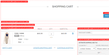 Template hints on cart page