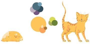 Cat and Guinea Pig Illustrations side by side