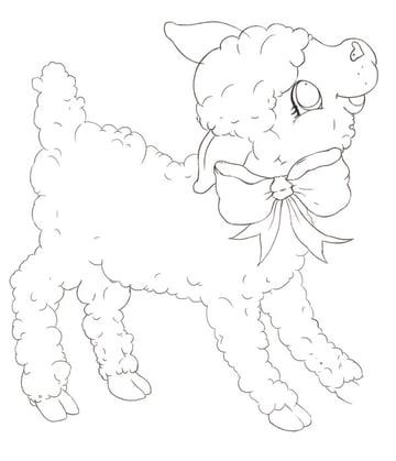Clean Lamb Line Art