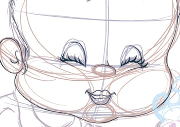 Lips and Eyes Line Art