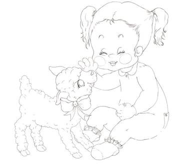 Girl and Lamb Clean Line Art