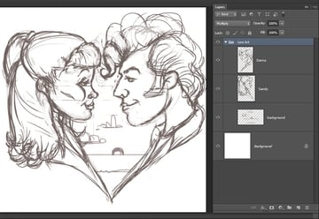 Danny and Sandy Heart Sketch